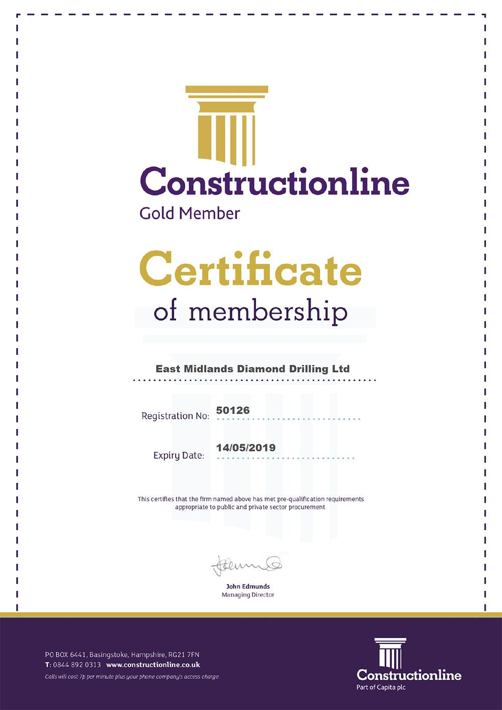 Constructionline Certificate EMDD UNIVERSAL